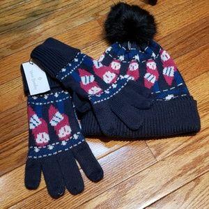 Vera Bradley Night Owl set gloves & hat nwt